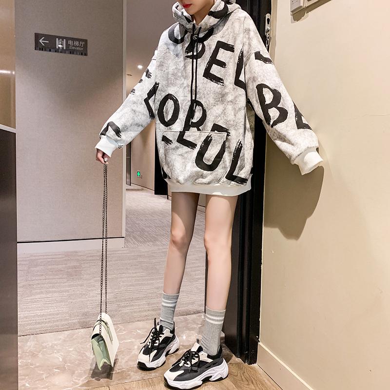 加绒加厚连帽衫卫衣女秋冬装2021新款韩版宽松大码上衣中长款外套