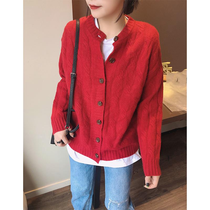 红色毛衣春装开衫女针织慵懒宽松2020新款外套欧洲站欧货韩版时尚