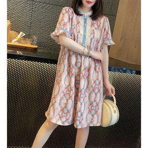 甜美减龄喇叭袖印花中长款宽松连衣裙欧洲站2020夏季女装新款欧货