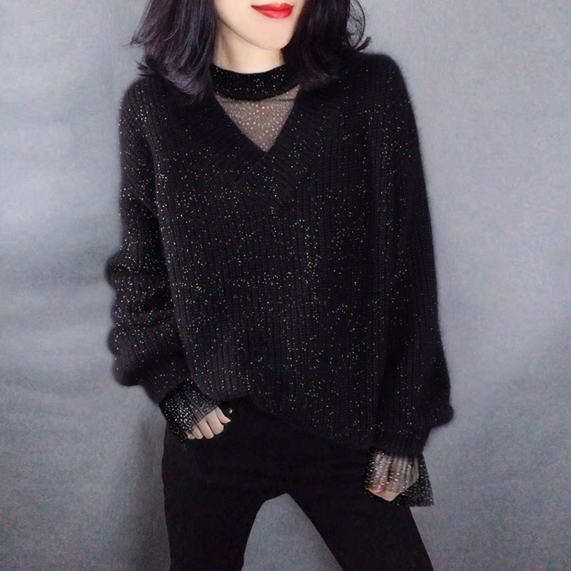 宽松慵懒风时尚黑色套头圆领毛衣欧洲站2019冬季女新款欧货潮韩版