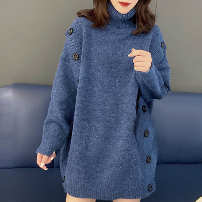 Lazy style loose mid-length high-neck solid color sweater sweater Europe station 2020 autumn and winter women's new European goods