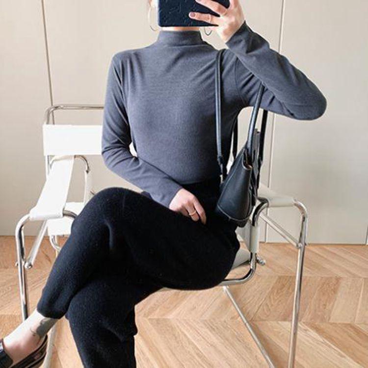 新款中长款打底衫女阳离子高领针织衫