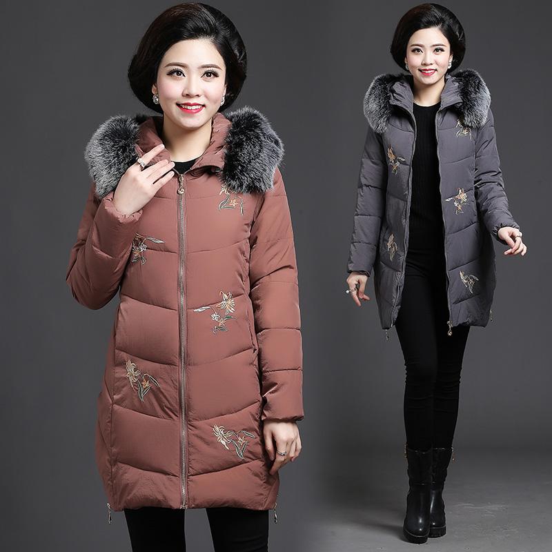 毛领装中长款a毛领外套v毛领中年棉衣40-50岁棉服显瘦连帽妈妈气质