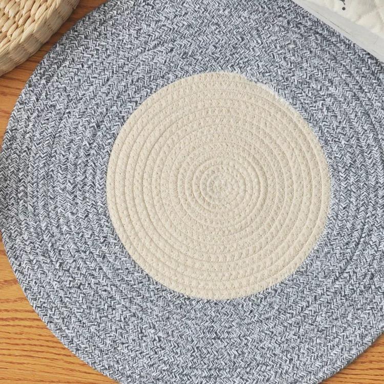 北欧日式 素色圆形简约桌垫 地毯 加厚棉线沙发垫 床边垫 茶几垫