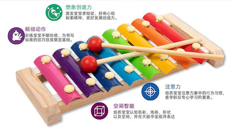 婴儿玩具岁益智早教音乐敲打小木琴幼童六八个月宝宝八音琴详细照片