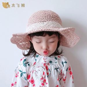 夏季儿童草帽女沙滩帽女童薄款可折叠遮阳盆帽凉帽系带宝宝防晒帽