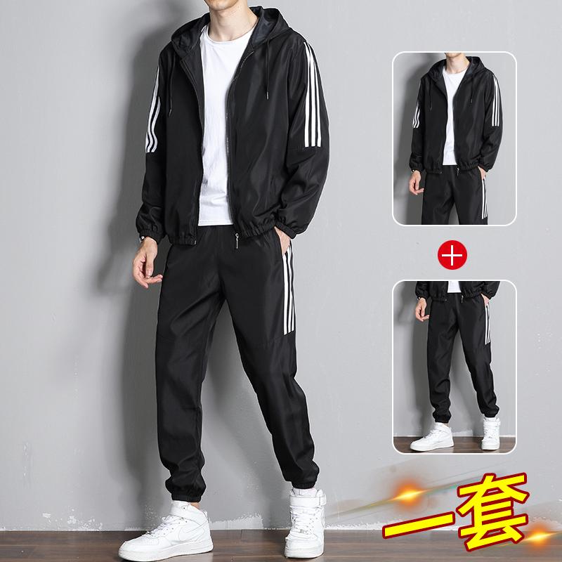 JIMO三条杠休闲运动套装2021春季经典款长袖夹克外套男休闲两件套