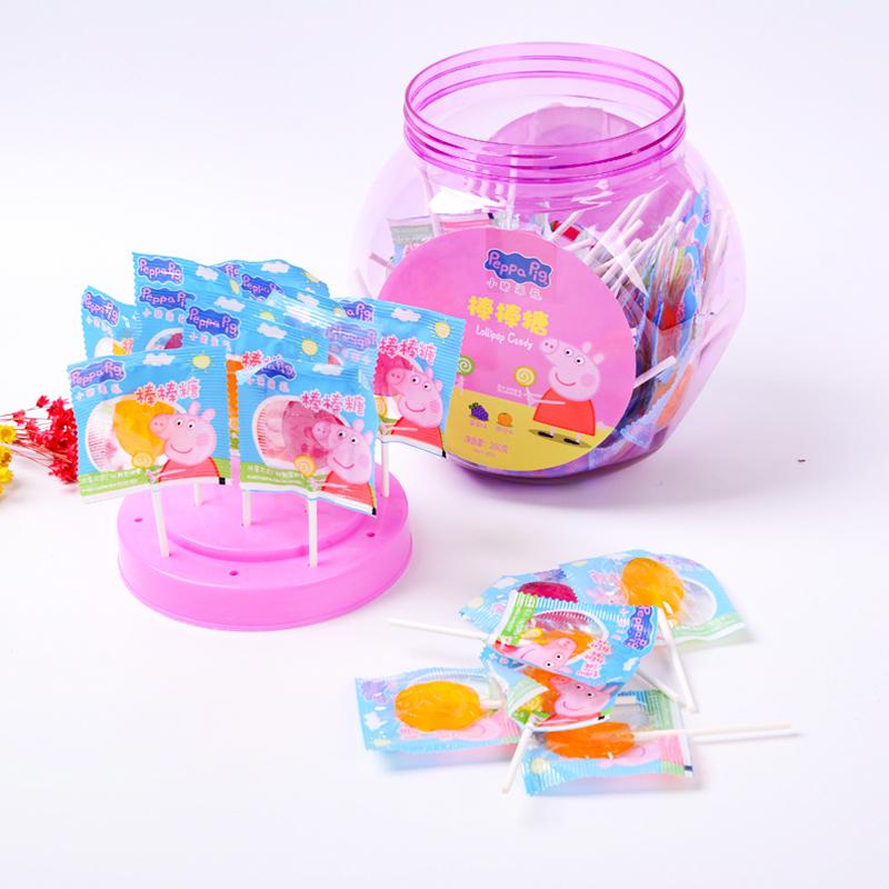 乐达 小猪佩奇扁棒棒糖水果味牛奶味儿童网红零食糖果800g罐装