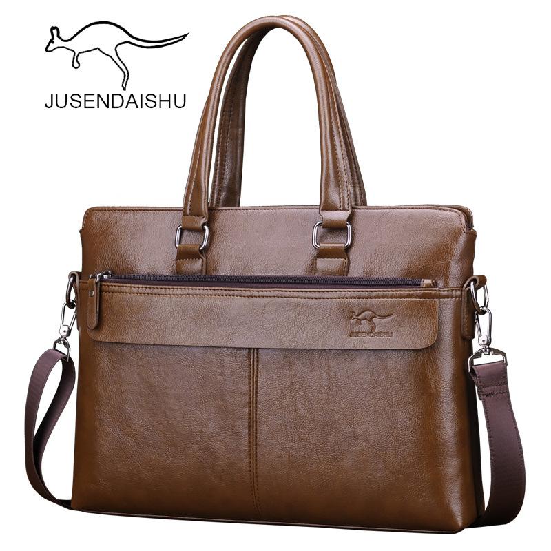 巨森袋鼠手提包真皮手拿横款男士包商务牛皮单肩斜挎包休闲公文包