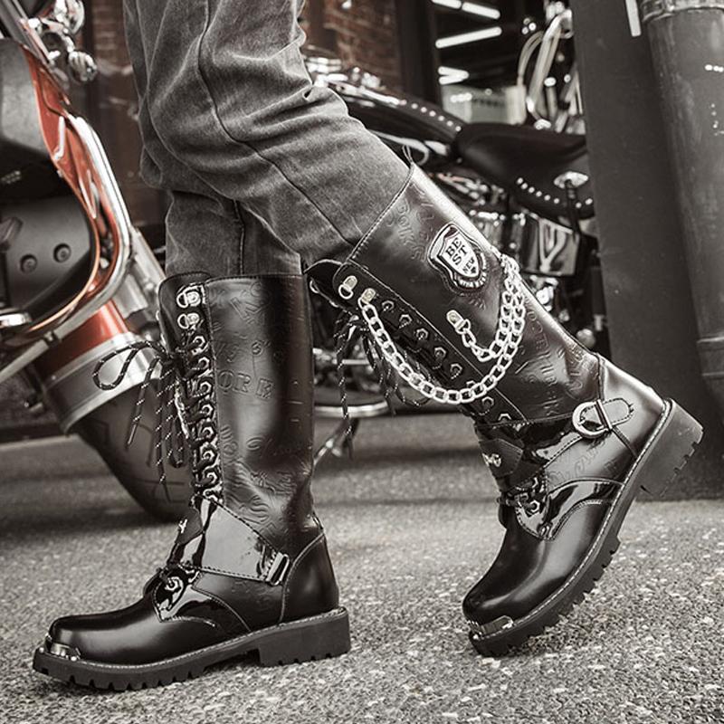 男靴子秋冬季高筒靴朋克金属铆钉长靴军靴加绒保暖大头皮靴马丁靴