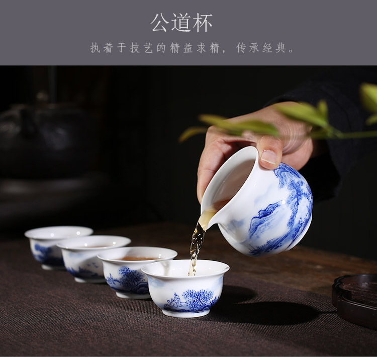 Jingdezhen up the fire which hand - made scenery kung fu tea set suit household porcelain cup lid bowl of a complete set of