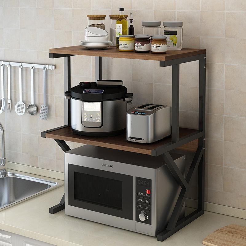 厨房置物架落地∑ 多层收纳架台面双层烤箱架●子厨房用品微波炉置物架