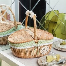 Rattan picnic bamboo basket hand basket bamboo flower blue ornament wedding willow imitation rattan packaging weaving pure hand