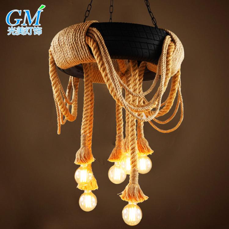 美式吧台风吊灯个性灯咖啡厅服装店灯具创意餐厅复古轮胎麻绳工业
