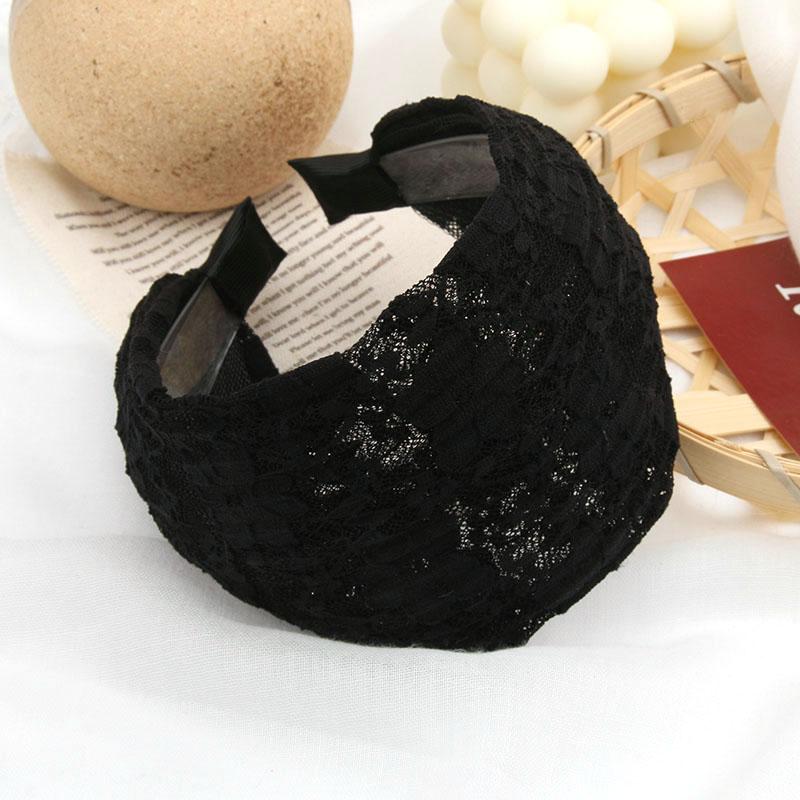 黑色发箍宽边头发饰韩国发带蕾丝头箍遮白发发卡子头饰品带齿防滑