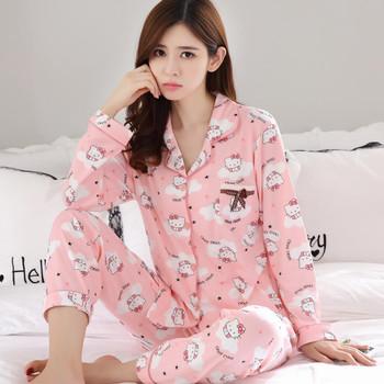 Встряска звук в этом же моделье пижама женский осенний студент установите hello сладкий девушка розовый Kitty старшие классы средней школы расти рукав тонкий срез, цена 1707 руб