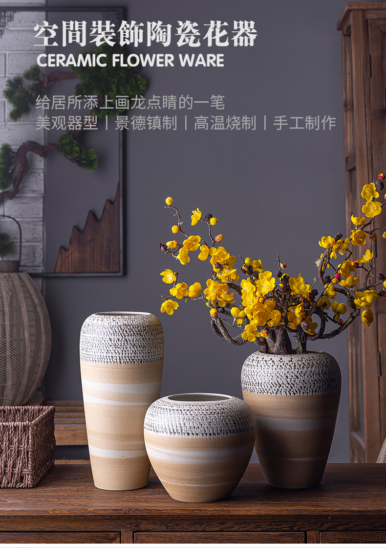 Northern wind restoring ancient ways of literature and art ceramic vase table I and contracted sitting room creative dried flower adornment furnishing articles flower arrangement