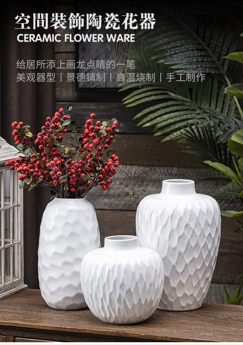 Light key-2 luxury white ceramic Scandinavian simplicity vase dried flower water keep household furnishing articles creative flower arrangement sitting room adornment flowers