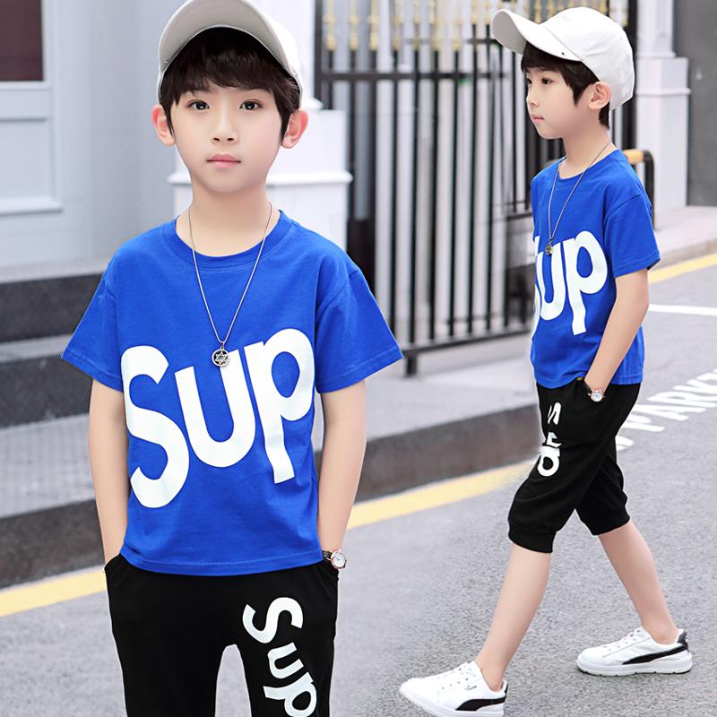男童套装短袖夏季套装2020新款小童短袖T恤短裤中大童休闲两件套