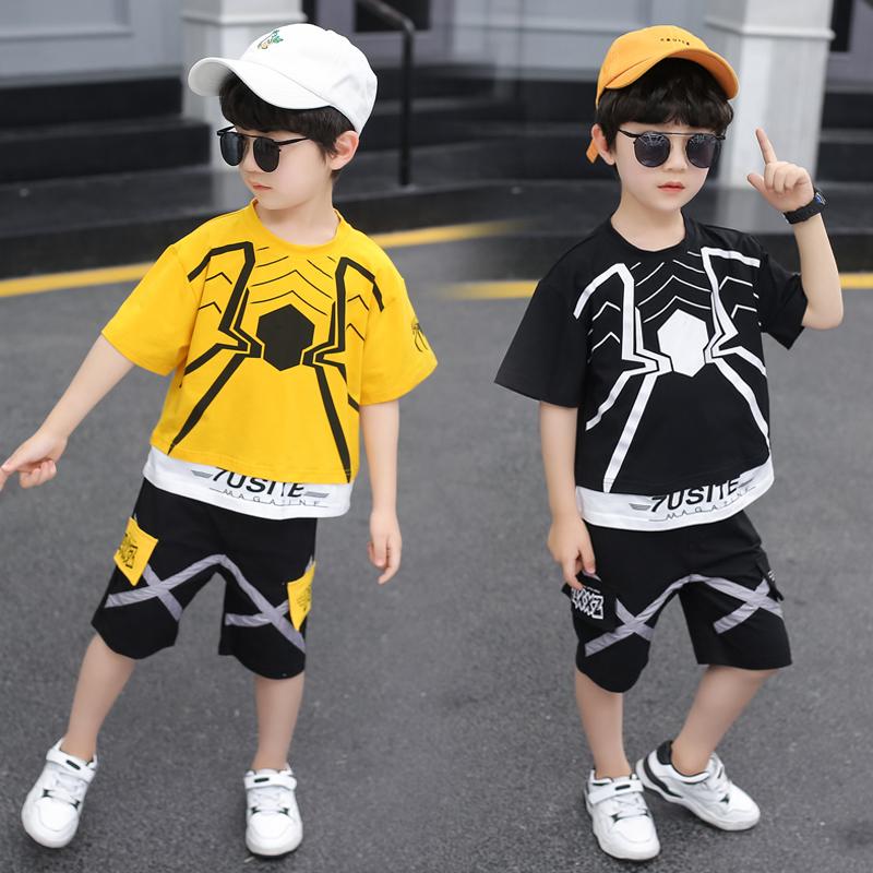 童装男童短袖套装夏装2020新款中大儿童两件套帅洋气休闲韩版潮衣