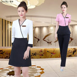 {浅汝Official authentic}Summer beauty salon beautician work clothes female high-end dress health hall suit