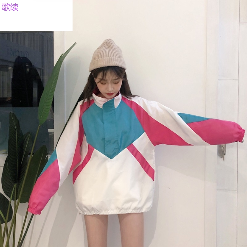 Floral thin windbreaker short-cut sun-kissed jacket women's loose-sleeved skimpy Korean sports-style head jacket