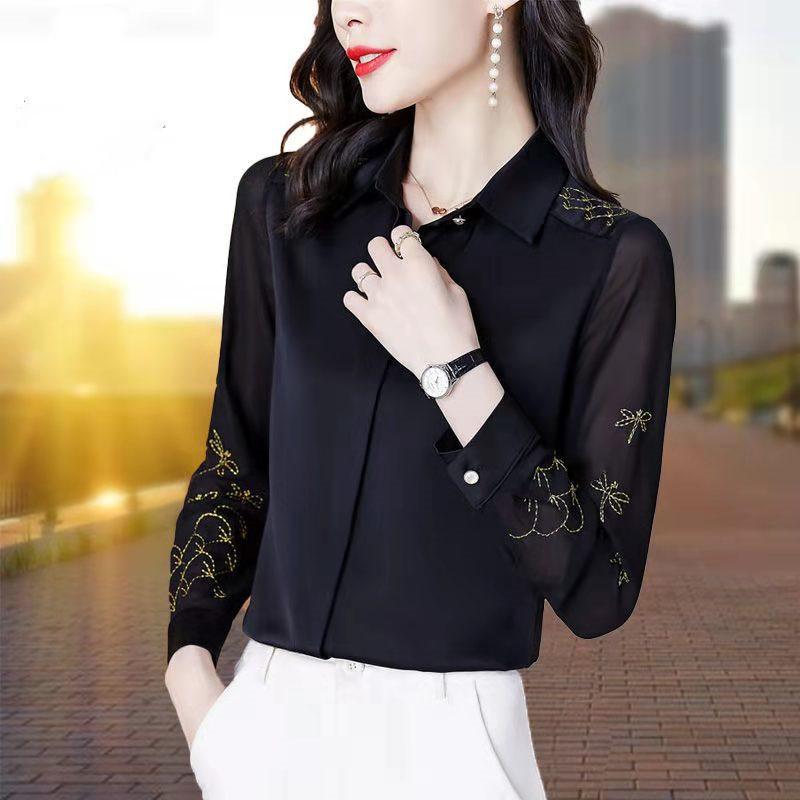 琅绅雪纺高端职业衬衫女气质2021新款洋气上衣外穿春夏款百搭衬衣