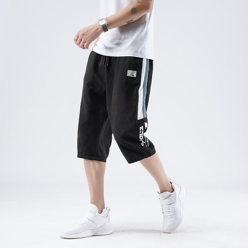 2020夏季新款男士七分裤青年百搭休闲运动裤松紧带透气短裤