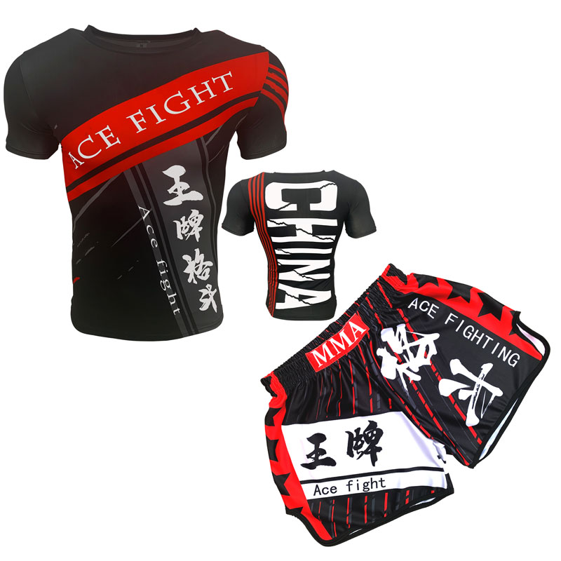 Loose-fitting outfit Muay Thai shorts MMA hit UFC fighting T-shirt quick-dry suit kids custom fitness tights.