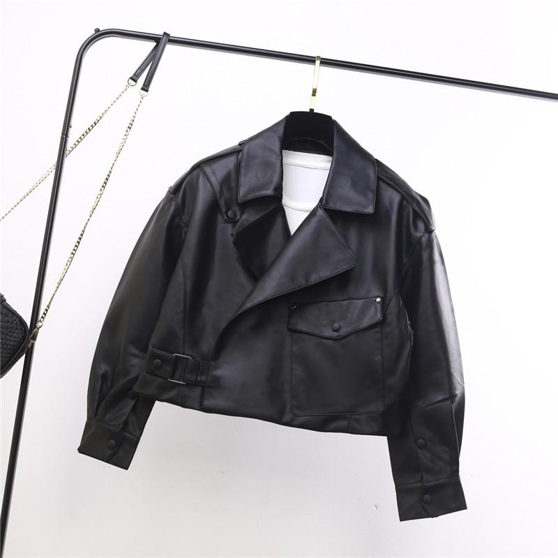 2020 mùa thu mới phiên bản Hàn Quốc áo khoác ngắn xe máy nữ lớn túi bên khóa tinh tế giặt áo khoác da PU - Quần áo da