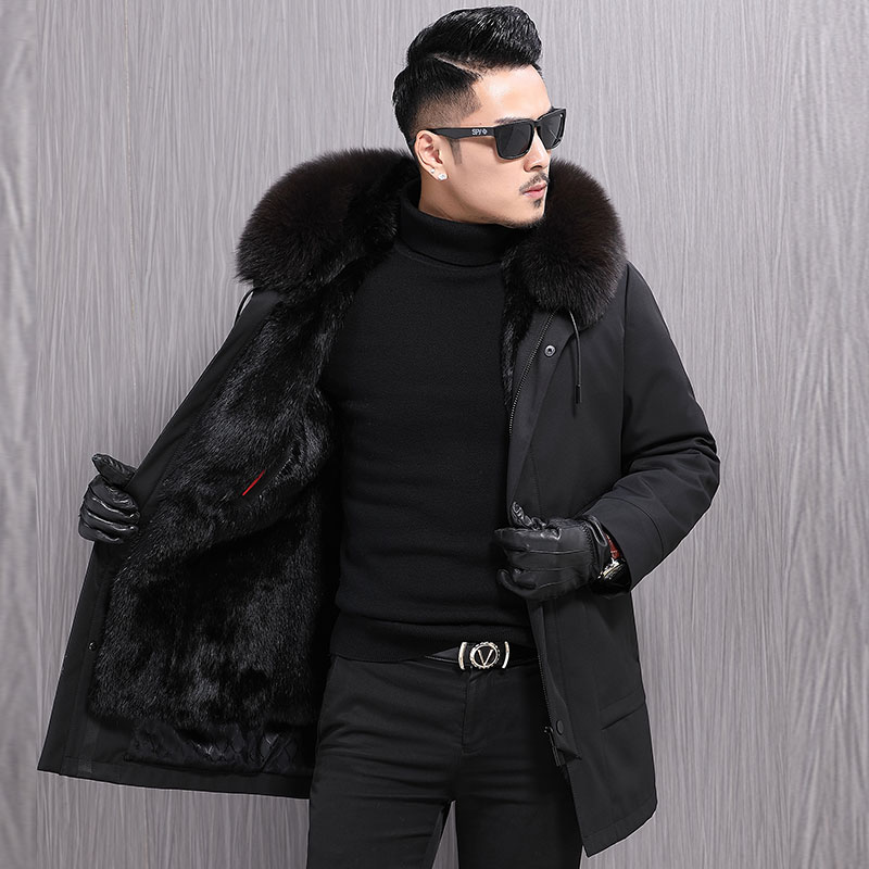 Haining pai overcomes men's 2019 winter medium-length otter guts inside the fox fur hood leather fur coat