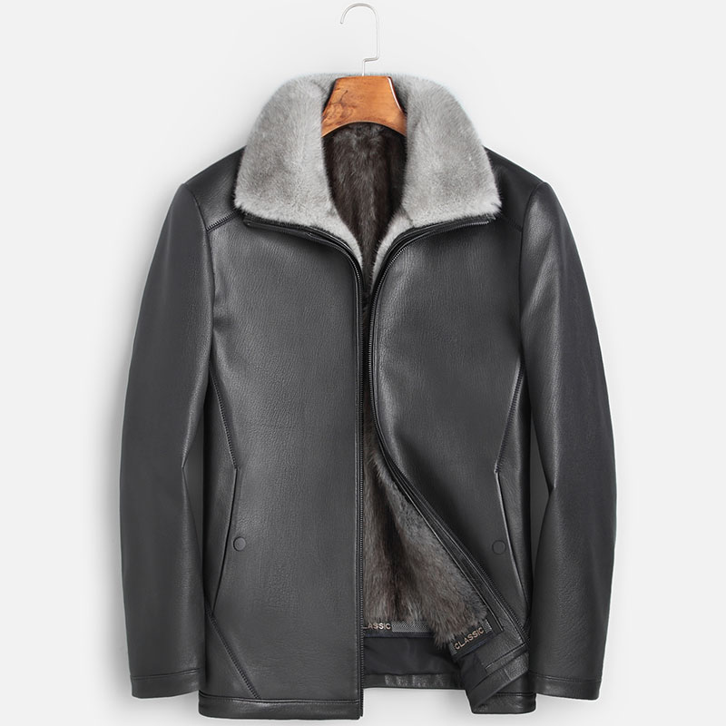 Leather leather men fur one goatskin whole mink inner bile middle-aged leisure winter business fur coat.