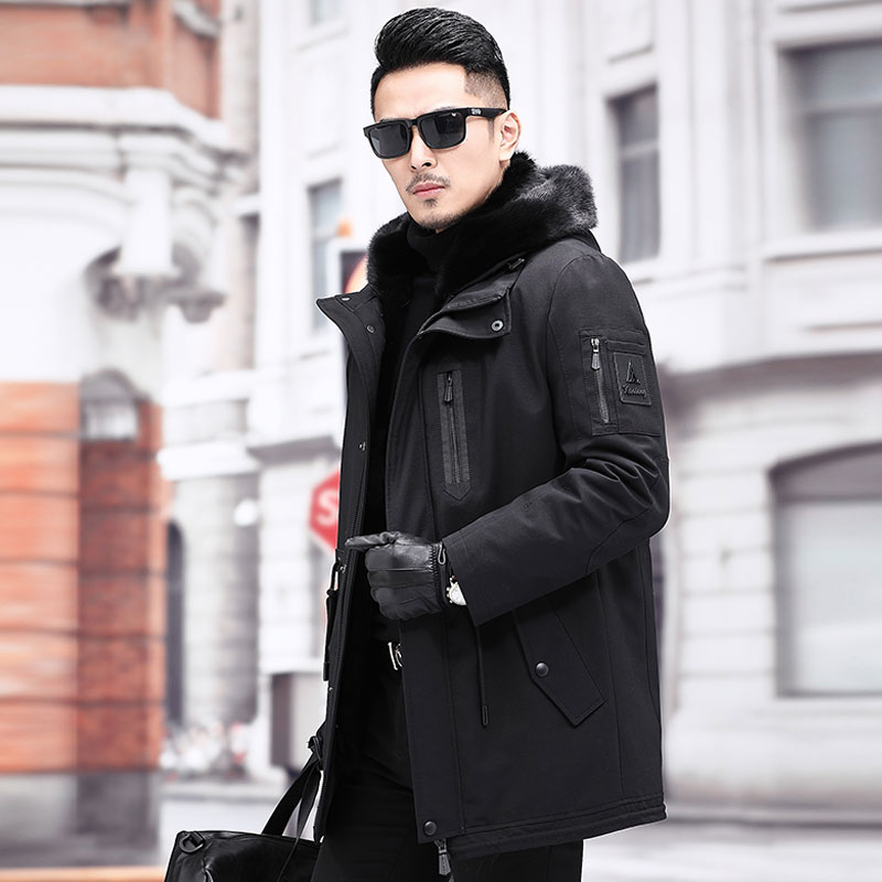 Haining pai overcomes men's 2019 winter long mid-length otter guts full-cap edgy youth leisure leather fur coat