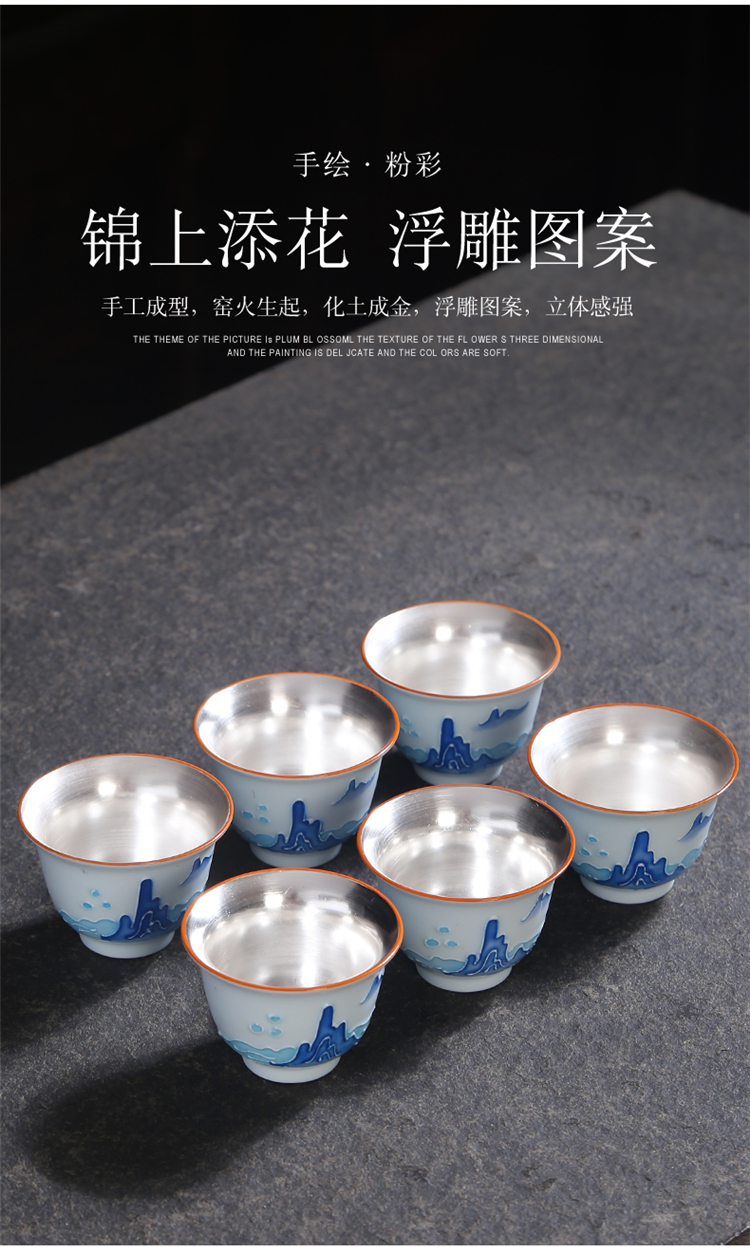 Hand - made kung fu master of blue and white porcelain cup cup single individuals dedicated tea tea cup ceramic sample tea cup
