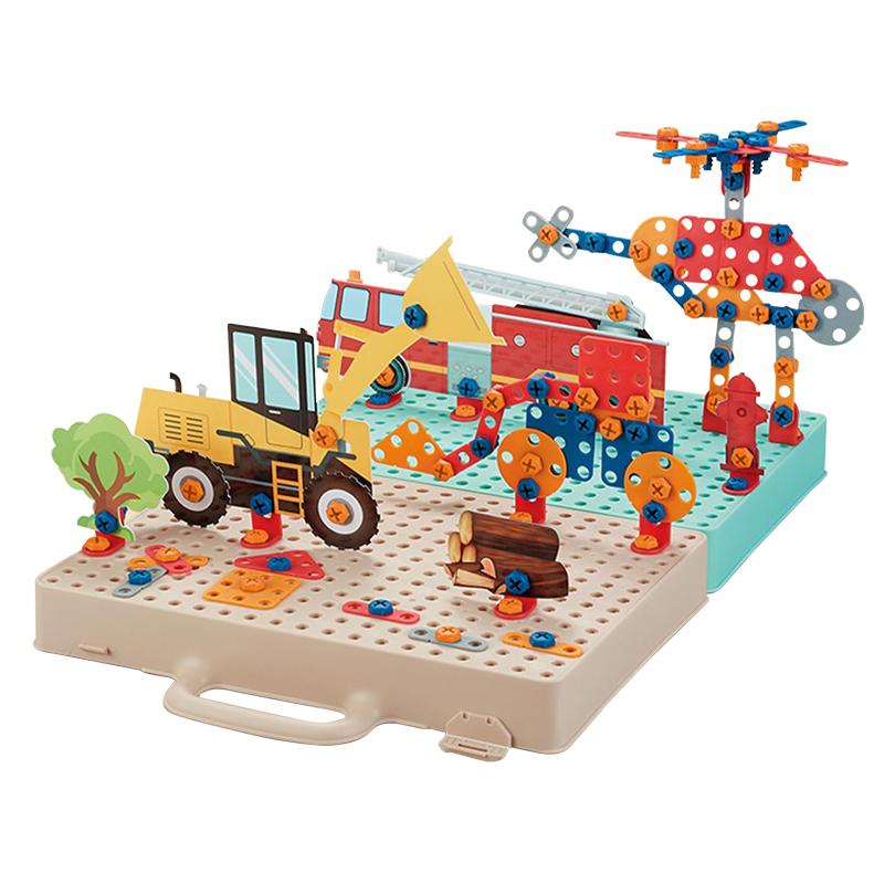 宝贝趣3D螺丝拼图工具箱儿童益智玩具拼图拆装电动玩具电钻工具台