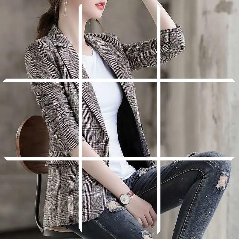 春秋小西装外套女2020新款韩版格子时尚百搭修身中长款洋气西服女