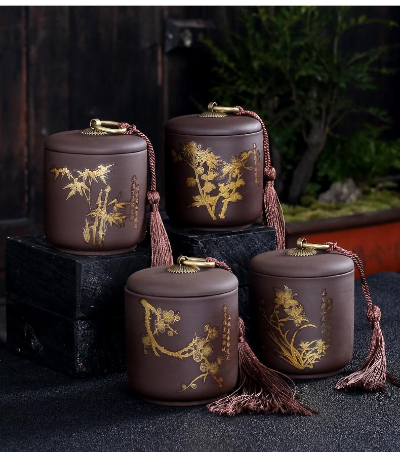Violet arenaceous elder brother up with sealing ceramic tea caddy fixings box travel warehouse storage tank pu 'er tea pot receives special tea set