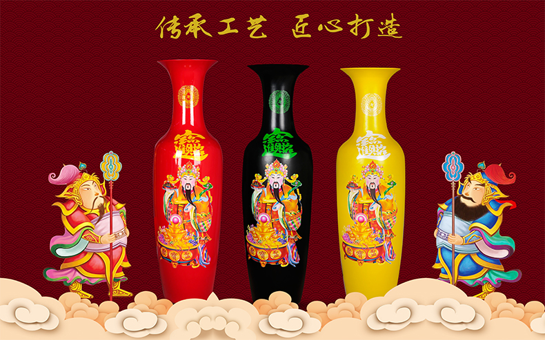 Jingdezhen ceramics high ground large vases, red yellow green maxim wealth sitting room place feng shui