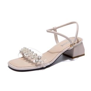 達芙妮夏季新款透明法式水鉆高跟鞋