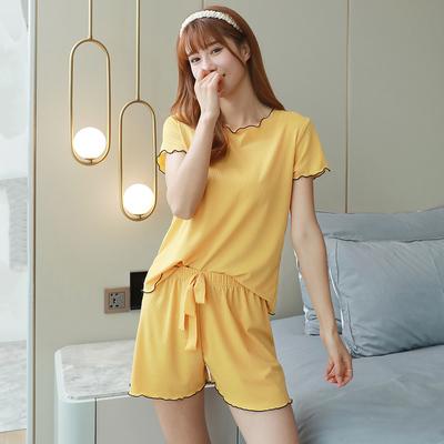 网红爆款夏季睡衣冰丝薄款短袖短裤女套装