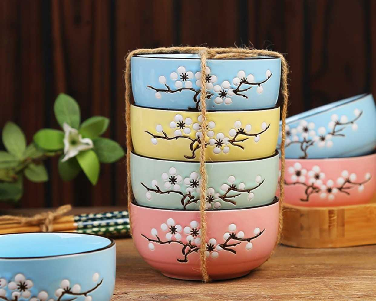 Gift kit wholesale domestic Japanese set bowl dish bowl chopsticks sets of blue and white porcelain tableware Gift boxes to NJ