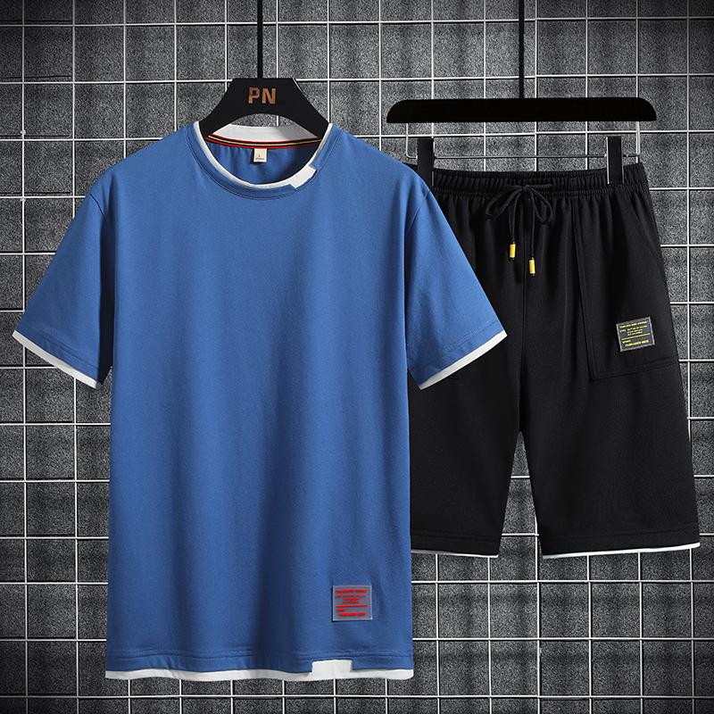 2020新款夏季短袖卫衣圆领套装潮流衣服一套搭配帅气休闲运动套装
