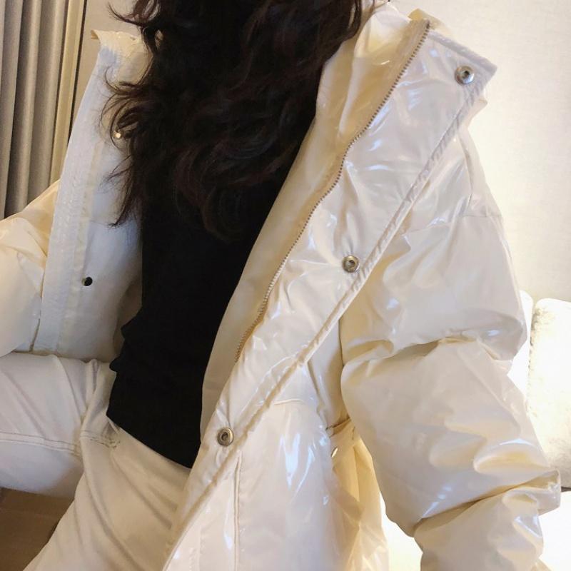 Áo mới 2019 màu đỏ với cùng một chiếc áo khoác có đệm ngắn thắt lưng nữ phiên bản Hàn Quốc của chiếc áo khoác đệm màu xanh lá cây bóng loáng mùa đông - Bông