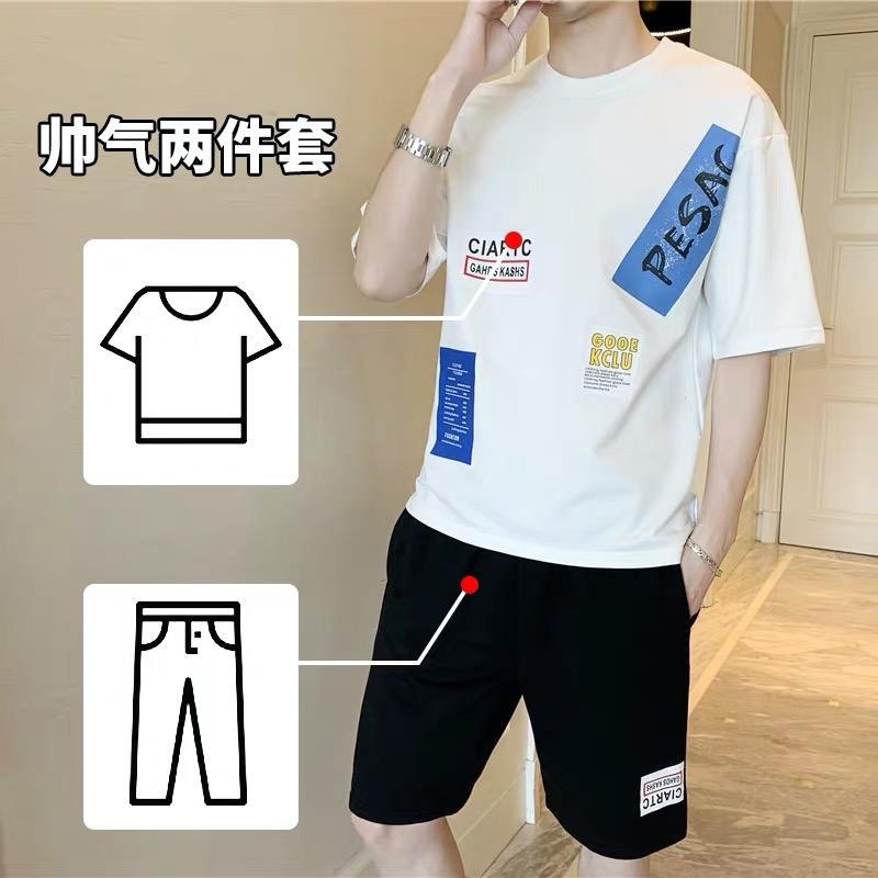 戈续短袖t恤男士运动套装潮牌衣服夏季宽松短裤一套搭配帅气半袖