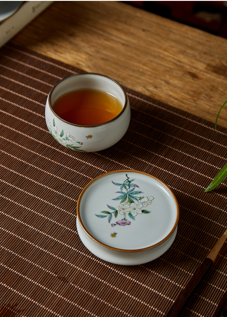 Shot incarnate your up hand - made the pear flower cover set kung fu tea tea saucer jingdezhen ceramics parts the piece of glass
