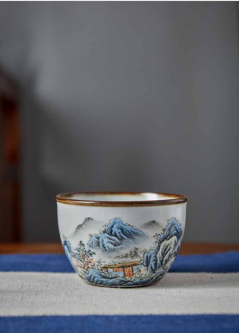 Shot incarnate your up hand - made scenery cylinder cup of jingdezhen ceramic kung fu tea set sample tea cup masters cup single CPU
