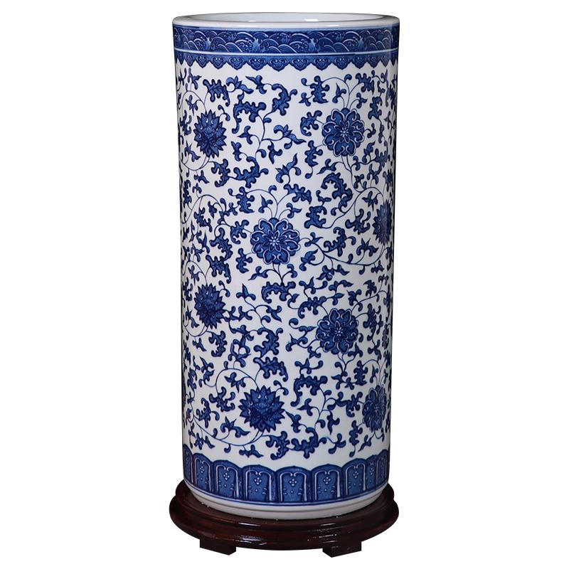 景德镇陶瓷大花瓶手绘青花瓷摆件插花书画缸卷轴缸字画桶客厅落地