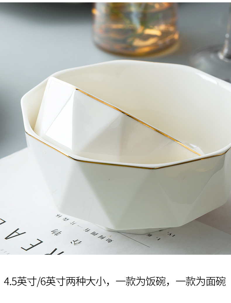 Eat dishes suit I and contracted household high - grade up phnom penh jingdezhen ceramic bowl European dishes combination tableware