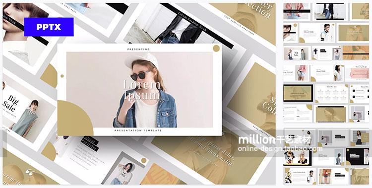 简约欧美时尚行业服装ppt模板清新大气黑白极简ppt素材2020新款插图(25)