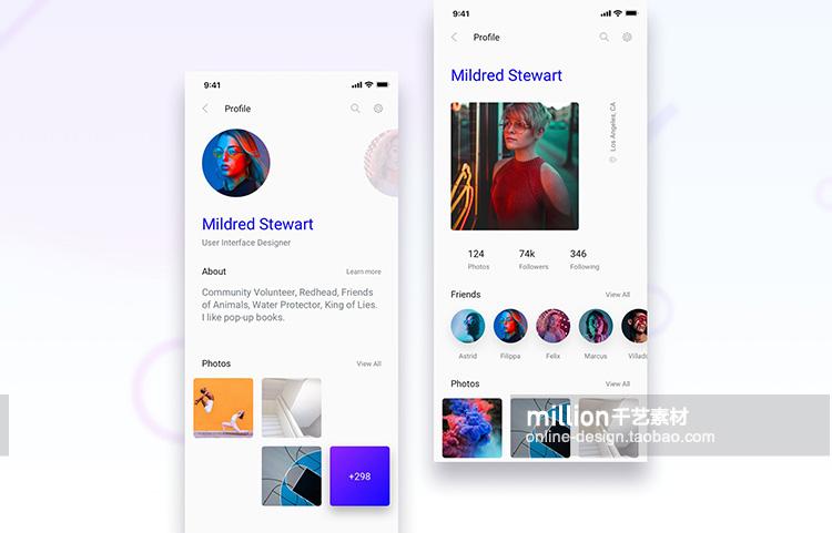 手机app制作模板ps素材扁平化社交媒体电子商务作品展示 psd新款插图(38)